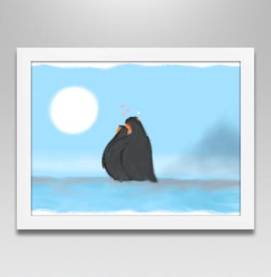 Постер в белой раме - Влюбленные пингвины