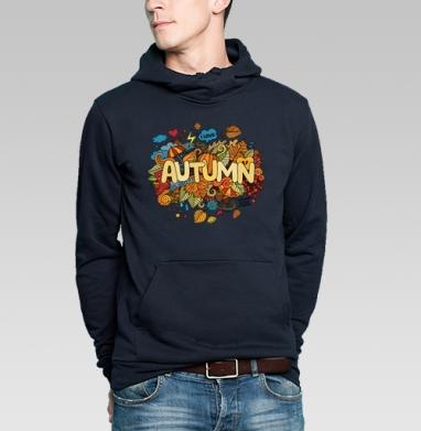 Толстовка мужская, накладной карман тёмно-синяя - Осень в деталях