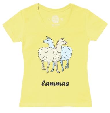 Футболка женская желтая - ламы