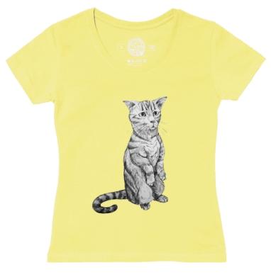 Футболка женская желтая - Просящий кот