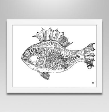 Панк рыба - Постер в белой раме