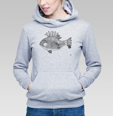 Панк рыба, Толстовка Женская серый меланж 340гр, теплая
