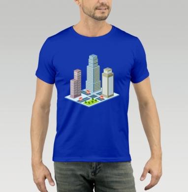 Футболка мужская синяя - Город