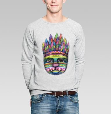 Вождь пушистых - Купить мужские свитшоты с индейцами в Москве, цена мужских свитшотов с индейцами  с прикольными принтами - магазин дизайнерской одежды MaryJane