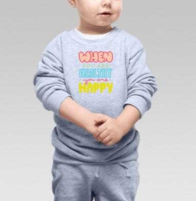 Cвитшот Детский серый меланж - ЗОЖ