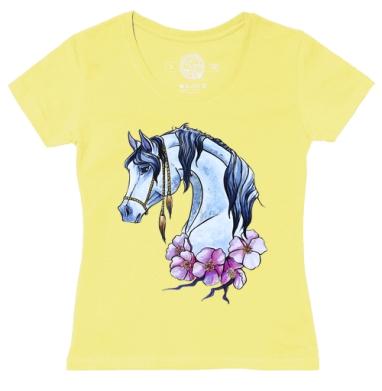 Футболка женская желтая - Нарисованная лошадь)