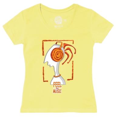 Футболка женская желтая - Почувствуй музыку