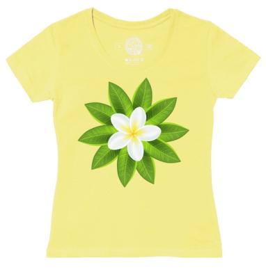 Футболка женская желтая - Белый Тропический Цветок