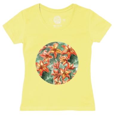 Футболка женская желтая - Оранжевые лилии