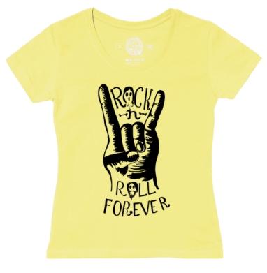 Футболка женская желтая - Rock-n-roll forever?