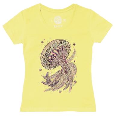 Футболка женская желтая - Блаженная медуза