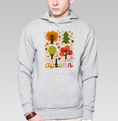 Autumn, Толстовка мужская, накладной карман серый меланж