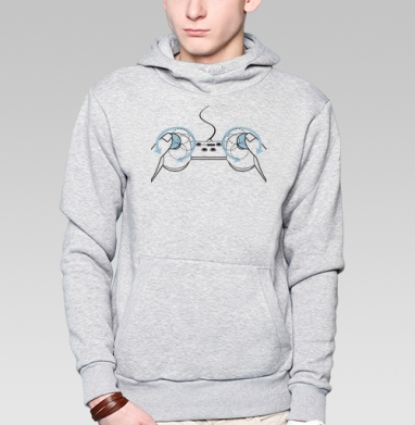B!tch C( . )ntr( . )L, Толстовка мужская, накладной карман серый меланж