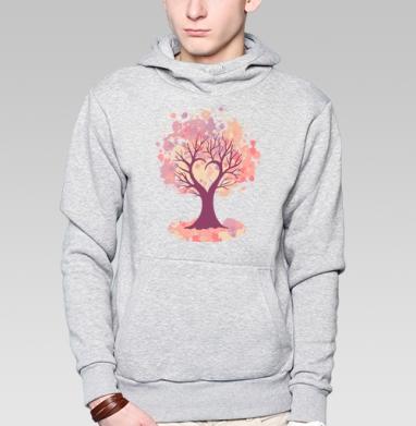 Дерево-сердце, Толстовка мужская, накладной карман серый меланж