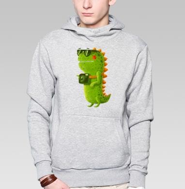 Толстовка мужская, накладной карман серый меланж, серый-меланж - Интернет магазин футболок №1 в Москве