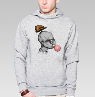 Жвачкамен - Толстовка мужская, накладной карман серый меланж, Жвачка