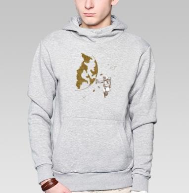 Космо, Толстовка мужская, накладной карман серый меланж
