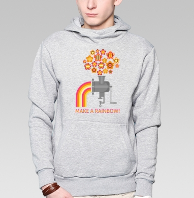 Make a rainbow!, Толстовка мужская, накладной карман серый меланж