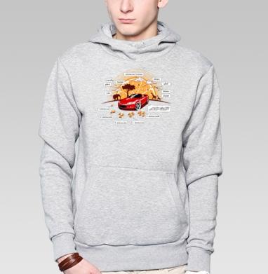MX-5, Толстовка мужская, накладной карман серый меланж