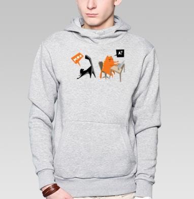 Red Cat - Толстовка мужская, накладной карман серый меланж, Boom! My mind is over (c), Новинки