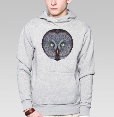 Толстовка мужская, накладной карман серый меланж - Сова