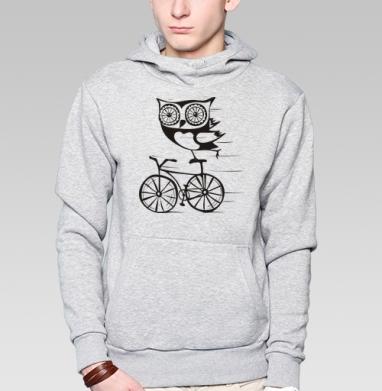 Толстовка мужская, накладной карман серый меланж - Велосова