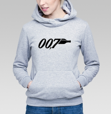 Толстовка Женская серый меланж 340гр, теплый - Агент 007