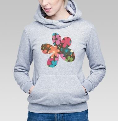Толстовка Женская серый меланж 340гр, теплая - Flowers petals