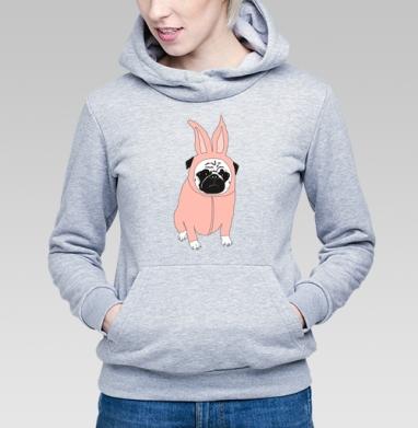 Мопс в костюме кролика - Купить детские толстовки с собаками в Москве, цена детских  с собаками  с прикольными принтами - магазин дизайнерской одежды MaryJane