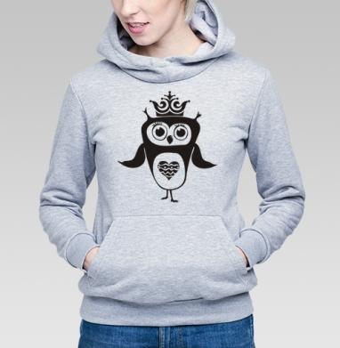 Толстовка Женская серый меланж 340гр, теплая - Сова-принцесса