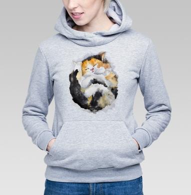 Спящий котёнок - Купить детские толстовки с акварелью в Москве, цена детских толстовок с акварелью  с прикольными принтами - магазин дизайнерской одежды MaryJane