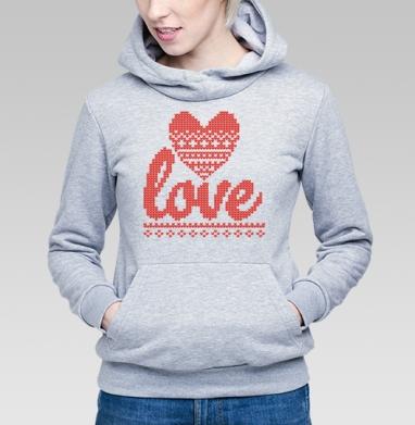 Толстовка Женская серый меланж - Вязаная любовь