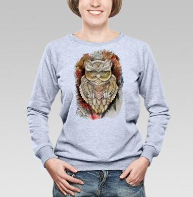 Doodle owl - Cвитшот женский, толстовка без капюшона  серый меланж, olkabalabolka, Новинки