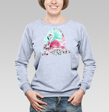 Фламинго - Купить женские свитшоты с роами в Москве, цена женских свитшотов с розой с прикольными принтами - магазин дизайнерской одежды MaryJane