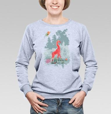 Жираф-мухомор в сказочном лесу - Купить женские свитшоты с природой в Москве, цена женских свитшотов с природой  с прикольными принтами - магазин дизайнерской одежды MaryJane