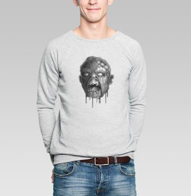 Свитшот мужской серый-меланж  320гр, стандарт - Голодная голова
