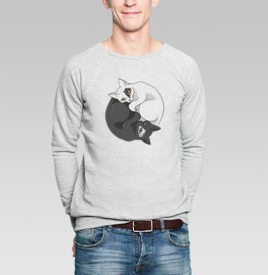 Кошачий инь-янь - Купить мужские свитшоты с символами в Москве, цена мужских свитшотов с символом с прикольными принтами - магазин дизайнерской одежды MaryJane