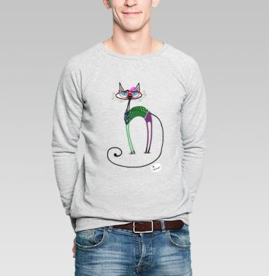 Кошка-хипстер - Купить мужские свитшоты хипстерские в Москве, цена мужских свитшотов хипстерских  с прикольными принтами - магазин дизайнерской одежды MaryJane