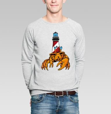 Краб и маяк - Купить мужские свитшоты морские  в Москве, цена мужских свитшотов морских   с прикольными принтами - магазин дизайнерской одежды MaryJane