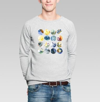 Круги - Купить мужские свитшоты абстрактные в Москве, цена мужских свитшотов абстрактных  с прикольными принтами - магазин дизайнерской одежды MaryJane