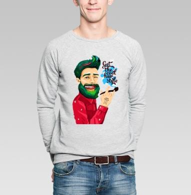 Крутая прическа - Купить мужские свитшоты хипстерские в Москве, цена мужских свитшотов хипстерских  с прикольными принтами - магазин дизайнерской одежды MaryJane