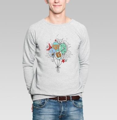 Море, лето, пляж - Купить мужские свитшоты с рыбой в Москве, цена мужских свитшотов с рыбой  с прикольными принтами - магазин дизайнерской одежды MaryJane