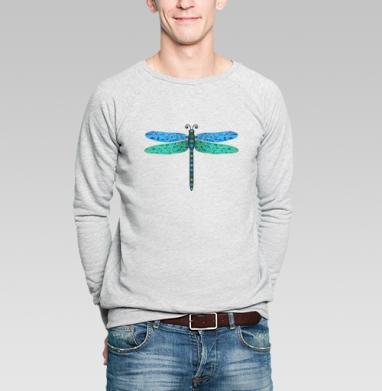 Мозаичная стрекоза - Купить мужские свитшоты с насекомыми в Москве, цена мужских свитшотов с насекомыми  с прикольными принтами - магазин дизайнерской одежды MaryJane