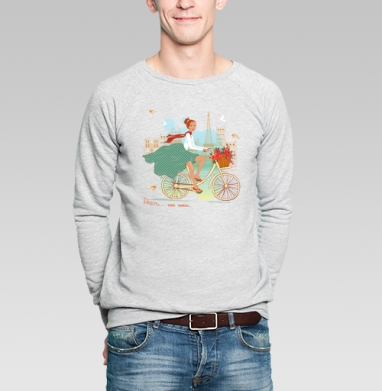 Paris chic - Купить мужские свитшоты с велосипедом в Москве, цена мужских свитшотов с велосипедом с прикольными принтами - магазин дизайнерской одежды MaryJane