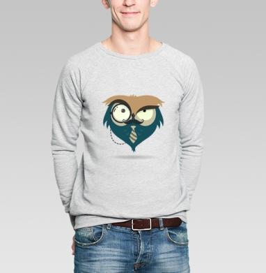 Сова-Хипстер - Купить мужские свитшоты с усами в Москве, цена мужских свитшотов с усами  с прикольными принтами - магазин дизайнерской одежды MaryJane