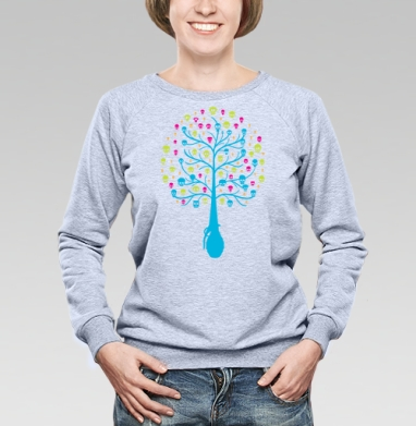 Tree... - Cвитшот женский, серый-меланж  320гр, стандарт, жизнь, Популярные