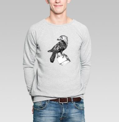 Свитшот мужской серый-меланж  320гр, стандарт - Ворон