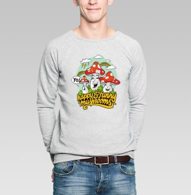 Funny Mushrooms - Купить мужские свитшоты с грибами в Москве, цена мужских свитшотов с грибами с прикольными принтами - магазин дизайнерской одежды MaryJane
