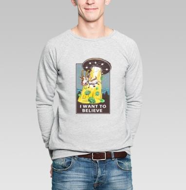 I want to believe - Купить мужские свитшоты с космосом в Москве, цена мужских свитшотов с космосом  с прикольными принтами - магазин дизайнерской одежды MaryJane