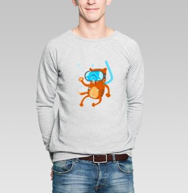 Кото дайвинг  - Купить мужские свитшоты морские  в Москве, цена мужских свитшотов морских   с прикольными принтами - магазин дизайнерской одежды MaryJane